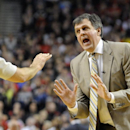 Houston Rockets' head coach Kevin McHale questions technical foul called on Dwight Howard during the first half of game four of an NBA basketball first-round playoff series game against the Portland Trail Blazers in Portland, Ore., Sunday March 30, 2014. (AP Photo/Greg Wahl-Stephens)