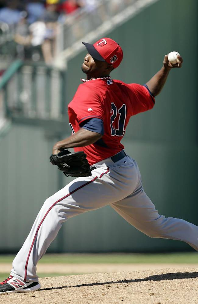 Minnesota Twins' Samuel Deduno winds up for a pitch against the Boston Red Sox in the fourth inning of an exhibition baseball game Friday, Feb. 28, 2014, in Fort Myers, Fla. The Twins beat the Red Sox 8-2