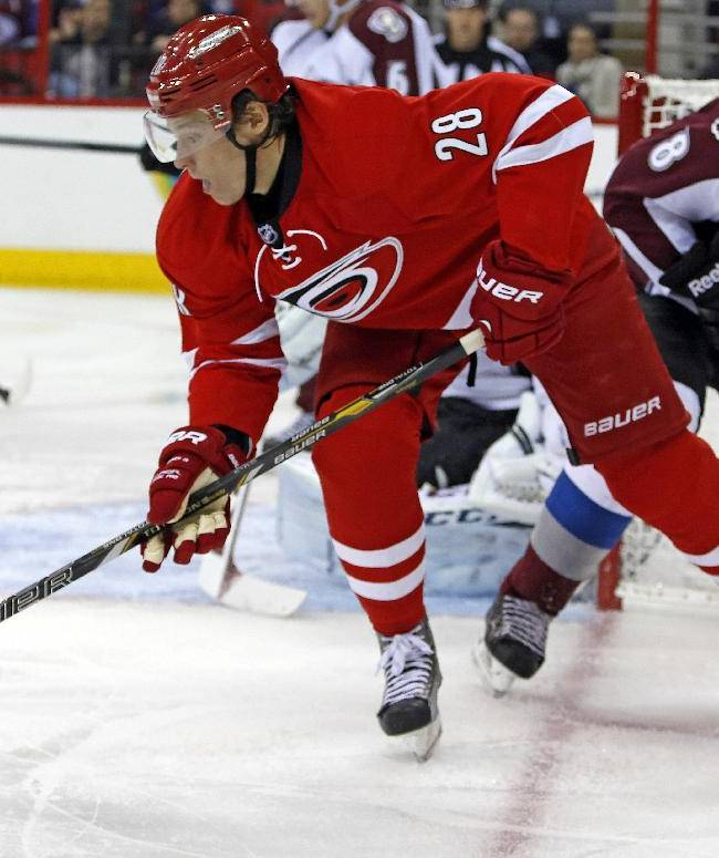 Carolina Hurricanes' Alexander Semin (28), of Russia, battles against Colorado Avalanche's Jan Hejda (8), of the Czech Republic, during the second period of an NHL hockey game in Raleigh, N.C., Tuesday, Nov. 12, 2013