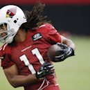 Arizona Cardinals' Larry Fitzgerald hauls in a pass during the first day of the NFL football team's training camp Saturday, July 26, 2014, in Glendale, Ariz The Associated Press