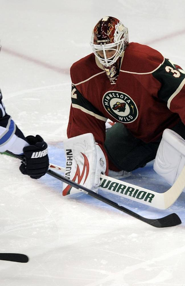 Minnesota Wild goalie Niklas Backstrom, right, stops the shot of Winnigeg Jets' Matt Halischuk (15) in the first period of an NHL hockey game on Saturday, Sept. 21, 2013, in St. Paul, Minn