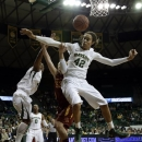 Iowa State's Chelsea Poppens, center, has her shot blocked by Baylor's Brooklyn Pope, left, and Brittney Griner (42) in the first half of an NCAA college basketball game on Wednesday, Jan. 9, 2013, in Waco, Texas. (AP Photo/Tony Gutierrez)