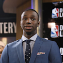 Top NBA draft prospect Andrew Wiggins of Kansas prepares for an interview during the NBA draft lottery in New York, Tuesday, May 20, 2014. (AP Photo/Kathy Willens)