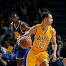 ONTARIO, CA - OCTOBER 12: Steve Nash #10 of the Los Angeles Lakers handles the ball during the game against the Golden State Warriors on October 12, 2014 at Citizens Business Bank Arena in Ontario, California. (Photo by Noah Graham/NBAE via Getty Images)