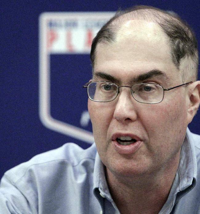 In this Nov. 28, 2012, file photo, Major League Baseball Players Association Executive Director Michael Weiner speaks during a news conference in New York. Weiner, the plain-speaking, ever-positive labor lawyer who took over as head of the powerful baseball players' union four years ago and smoothed the group's perennially contentious relationship with management, died Thursday, Nov. 21, 2013, 15 months after announcing he had been diagnosed with an inoperable brain tumor. He was 51. A memorial for Weiner was held Monday, Jan. 20, 2014