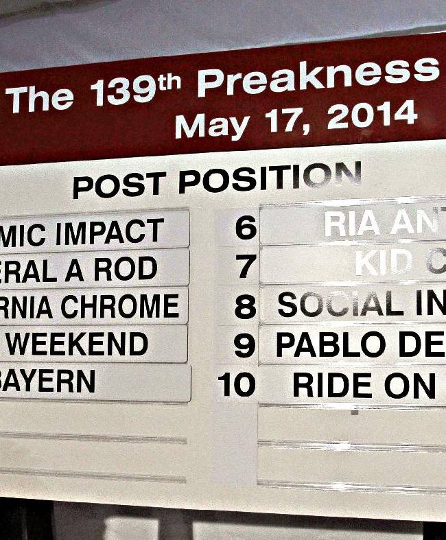 Ms Racing Queen Linsey Toole shows the board with post positions drawn Wednesday May 14, 2014,  in Baltimore, Md.,  for the Preakness Stakes.  Kentucky Derby winner California Chrome is in post position No. 3 for the 139th Preakness Stakes on Saturday, May 17