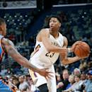 NEW ORLEANS, LA - OCTOBER 16: Anthony Davis #23 of the New Orleans Pelicans handles the ball against the Oklahoma City Thunder at the Smoothie King Center on October 16, 2014 in New Orleans, Louisiana. (Photo by Layne Murdoch Jr./NBAE via Getty Images)