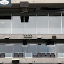 In this Oct. 15, 2014, photo, four security cameras are mounted at MetLife Stadium, home of the New York Giants and the New York Jets football teams, in East Rutherford, N.J. The cameras installed late last year before the stadium hosted the Super Bowl fe