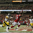 Atlanta Falcons wide receiver Devin Hester (17) prepares to make a touch-down catch against Pittsburgh Steelers defensive back Antwon Blake (41) during the first half of an NFL football game, Sunday, Dec. 14, 2014, in Atlanta The Associated Press