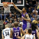 Phoenix Suns forward Markieff Morris (11) dunks the ball against the Minnesota Timberwolves during the first half of an NBA b