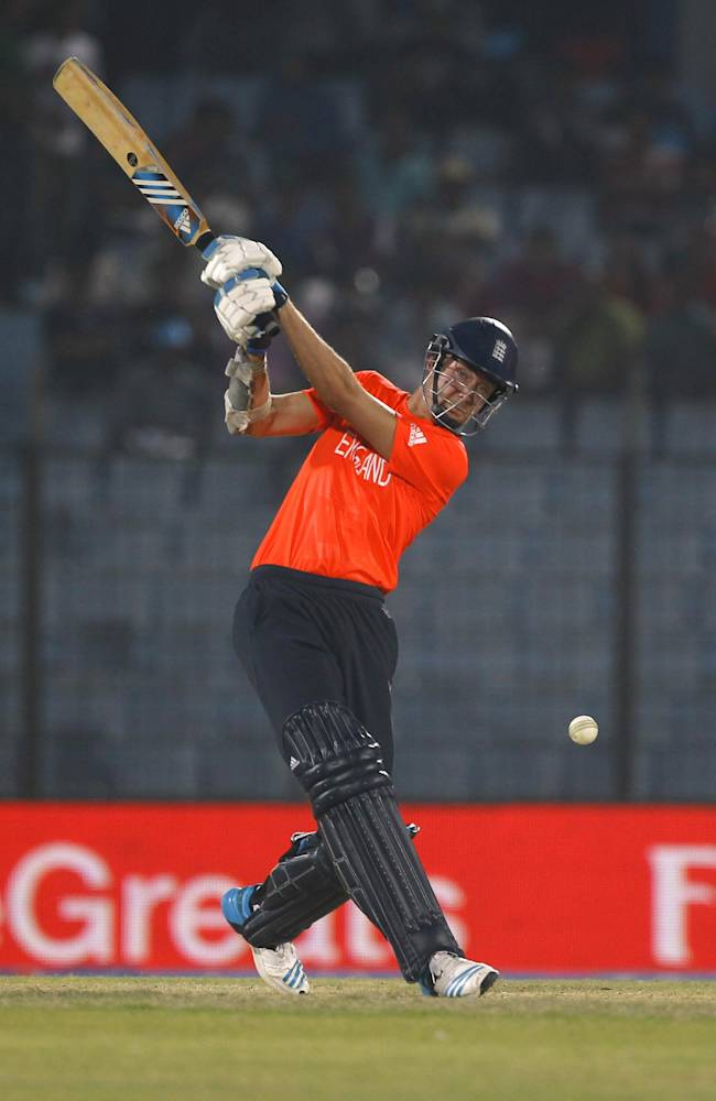 England's captain Stuart Broad plays a shot during their ICC Twenty20 Cricket World Cup match against Netherlands in Chittagong, Bangladesh, Monday, March 31, 2014