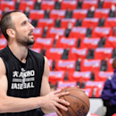 LOS ANGELES, CA - May 2: Manu Ginobili #20 of the San Antonio Spurs warms up before Game Seven of the Western Conference Quarterfinals against the Los Angeles Clippers during the 2015 NBA Playoffs on May 2, 2015 at Staples Center in Los Angeles, California. (Photo by Andrew D. Bernstein/NBAE via Getty Images)