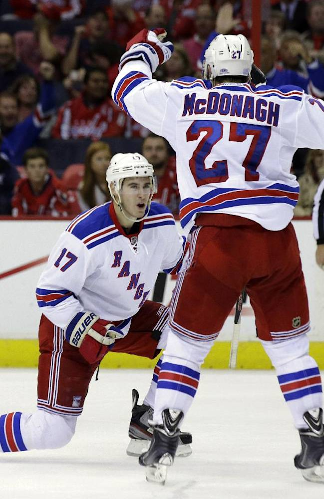 New York Rangers defenseman John Moore (17) celebrates his goal with defenseman Ryan McDonagh in the second period of an NHL hockey game against the Washington Capitals, Wednesday, Oct. 16, 2013, in Washington
