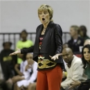 Baylor head coach Kim Mukey questions a call during the first half of an NCAA college basketball game against Kansas, Wednesday, Feb. 6, 2013, in Waco Texas. (AP Photo/LM Otero)