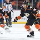 The Ducks' Emerson Etem looks for the puck during the first period against the Buffalo Sabres at Honda Center Wednesday night Oct. 22, 2014 The Associated Press