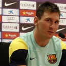 Barcelona's Lionel Messi listens to a question during a news conference after a training session at Ciutat Esportiva Joan Gamper in Sant Joan Despi near Barcelona, July 17, 2013. REUTERS/Gustau Nacarino