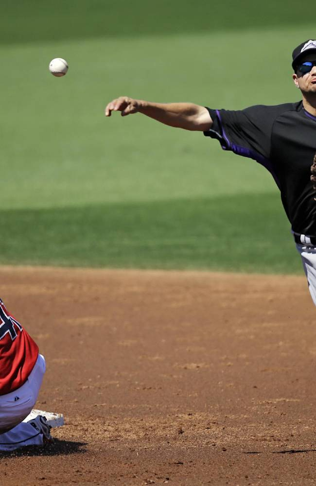 Colorado Rockies shortstop Paul Janish throws over Cleveland Indians' Carlos Santana to complete a double play on Indians' Michael Brantley in the second inning of a  spring exhibition baseball game, Saturday, March 22, 2014, in Goodyear, Ariz