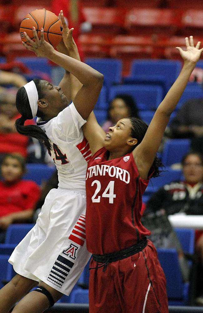 Arizona's LaBrittney Jones, left, shoots over Stanford's Erica McCall (24) in the second half of an NCAA college basketball game on Friday, Jan. 17, 2014, in Tucson, Ariz