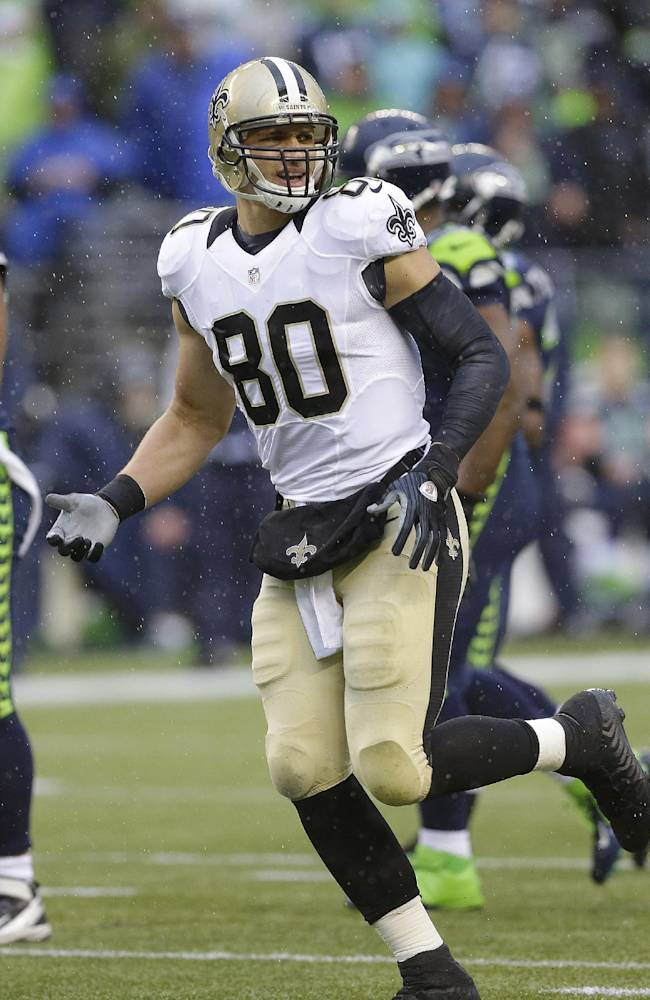 New Orleans Saints tight end Jimmy Graham (80) against the Seattle Seahawks during an NFC divisional playoff NFL football game in Seattle, Saturday, Jan. 11, 2014