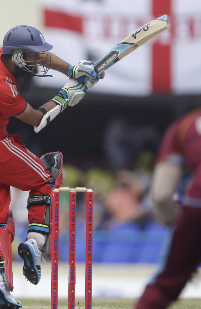England's Moeen Ali bats during the second one-day international cricket match against West Indies at the Sir Vivian Richards Cricket Ground in St. John's, Antigua, Sunday, March 2, 2014