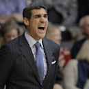 Villanova coach Jay Wright shouts during the second half of an NCAA college basketball game against Seton Hall, Friday, Feb. 7, 2014, in Villanova, Pa. Villanova won 70-53. (AP Photo/Laurence Kesterson)
