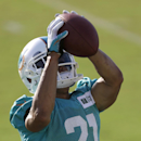 Miami Dolphins cornerback Brent Grimes (21) catches a pass during NFL football training camp in Davie, Fla., Wednesday, July 30, 2014 The Associated Press