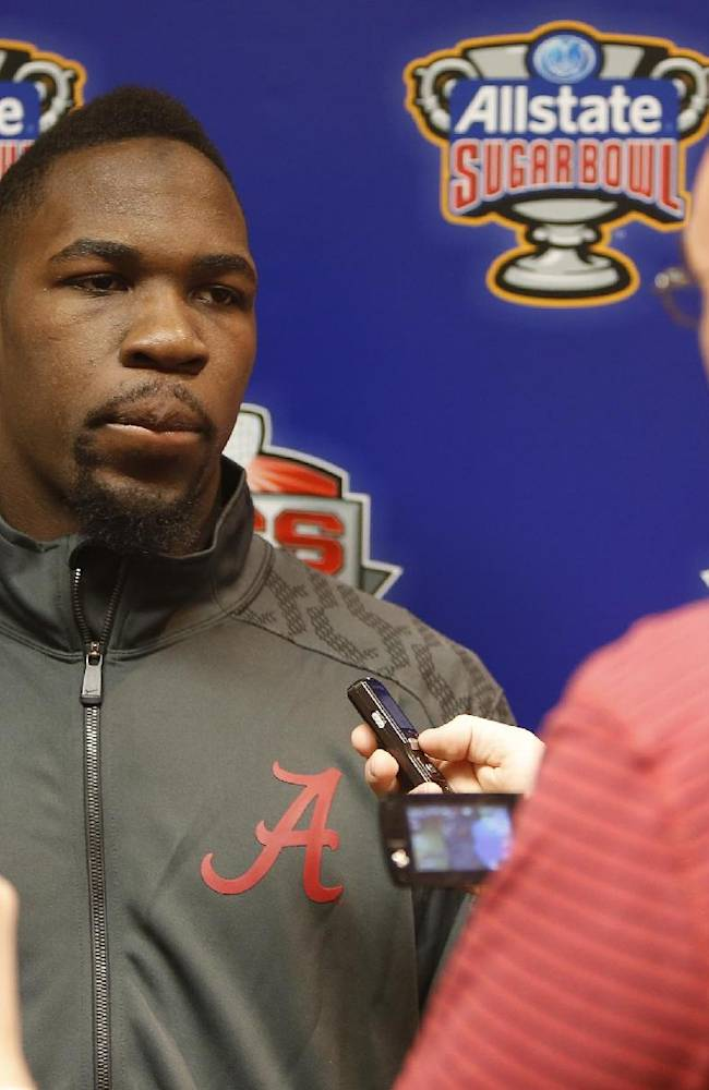 Alabama linebacker C.J. Mosley speaks to the media during an NCAA college football news conference on Friday Dec. 27, 2013, in New Orleans. Alabama faces Oklahoma in the Sugar Bowl on Thursday Jan. 2, 2014