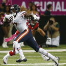 Chicago Bears wide receiver Alshon Jeffery (17) runs by Atlanta Falcons inside linebacker Paul Worrilow (55) during the first half of an NFL football game, Sunday, Oct. 12, 2014, in Atlanta The Associated Press