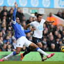 Tottenham's Mousa Dembele, right, makes a tackle on Everton's Sylvain Distin during their English Premier League soccer match at the White Hart Lane stadium in London, Sunday, Feb. 9 2014