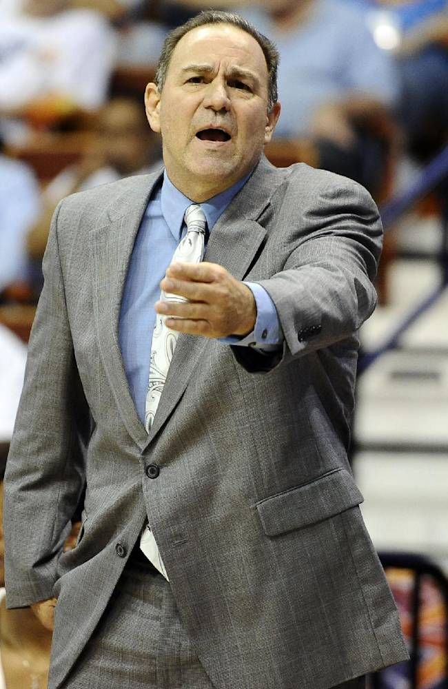 In this July 2, 2013 file photo, Tulsa Shock head coach Gary Kloppenburg gestures during the first half of a WNBA basketball game against the Connecticut Sun in Uncasville, Conn. The Shock fired Kloppenburg and his assistants on Tuesday, Oct. 15, 2013,  after two seasons with the struggling team