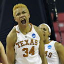 Texas' Imani McGee-Stafford celebrates a basket during the second half of the first round of the NCAA women's college basketball tournament, Sunday, March 23, 2014, in College Park, Md. Texas won 79-61.(AP Photo/Gail Burton)