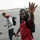Alabama running back and BCS Championship game Most Valuable Player Eddie Lacy waves to fans after arriving back from Miami at the Tuscaloosa Regional Airport in Tuscaloosa, Ala., Tuesday, Jan. 8, 2013. (APPhoto