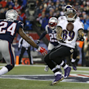 Baltimore Ravens wide receiver Steve Smith (89) juggles, then catches a nine-yard touchdown pass in front of New England Patriots cornerback Darrelle Revis (24) in the first half of an NFL divisional playoff football game Saturday, Jan. 10, 2015, in Foxbo