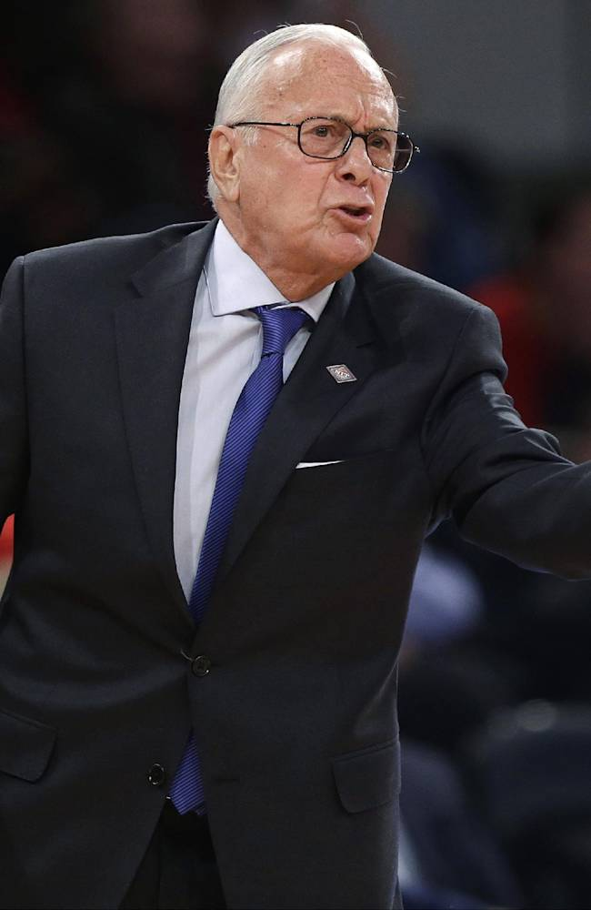 SMU coach Larry Brown reacts to a call during the second half of an NCAA college basketball game against Minnesota in the final of the NIT on Thursday, April 3, 2014, in New York. Minnesota won the game 65-63