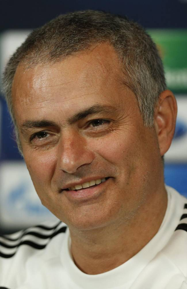 Chelsea manager Jose Mourinho speaks to the media during a press conference at Cobham training ground in Cobham, England, Tuesday Dec. 10, 2013. Chelsea will play Steaua Bucharest in the Champions League group E soccer match at Stamford Bridge stadium on Wednesday, Dec. 11