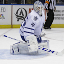 Toronto Maple Leafs goalie Jonathan Bernier watches a puck go past him during the second period of an NHL hockey game against the New York Islanders on Thursday, Feb. 27, 2014, in Uniondale, N.Y The Associated Press