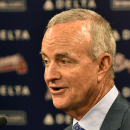 The Atlanta Braves announce interim general manager John Hart at a news conference after the baseball team fired general manager Frank Wren Monday, Sept. 22, 2014, in Atlanta. (AP Photo/David Tulis)