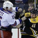 New York Rangers right wing Derek Dorsett (15) fights with Boston Bruins center Gregory Campbell (11) during the third period in Game 2 of the NHL Eastern Conference semifinal hockey playoff series in Boston, Sunday, May 19, 2013. The Bruins won 5-2. (AP Photo/Elise Amendola)