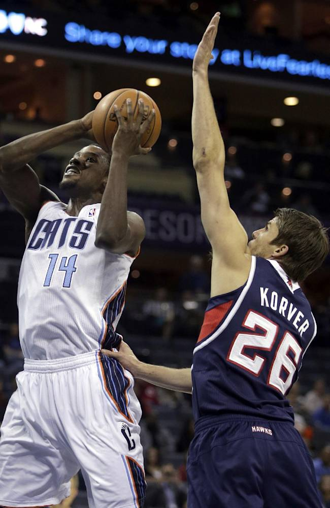 Charlotte Bobcats forward Michael Kidd-Gilchrist, left, drives past Atlanta Hawks guard Kyle Korver in the first half of an NBA basketball game in Charlotte, N.C., Monday, Nov. 11, 2013