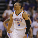 Oklahoma City Thunder guard Russell Westbrook (0) spins around after missing a three pointer against the Phoenix Suns during the second half of an NBA basketball game, Thursday, March 6, 2014, in Phoenix. The Suns won 128-122 The Associated Press