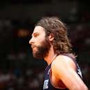 Josh McRoberts #11 of the Charlotte Bobcats during a game against the Miami Heat in Game Two of the Eastern Conference Quarterfinals of the 2014 NBA playoffs at American Airlines Arena in Miami, Florida on April 23, 2014. (Photo by Nathaniel S. Butler/NBAE via Getty Images)