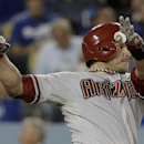 Arizona Diamondbacks' Miguel Montero watches his home run against the Los Angeles Dodgers during sixth inning of a baseball game in Los Angeles, Friday, April 18, 2014 The Associated Press