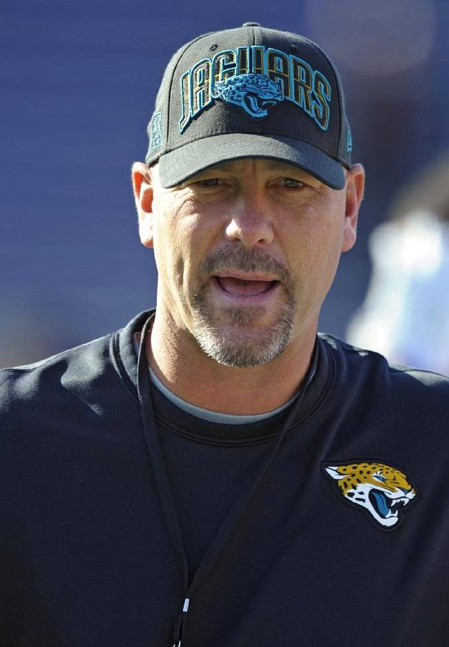 South Squad coach Gus Bradley of the Jacksonville Jaguars walks among his players as they stretch during Senior Bowl college football practice at Ladd-Peebles Stadium, Thursday, Jan. 23, 2014, in Mobile, Ala
