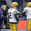 Seattle Seahawks head coach Pete Carroll, left, talks to Green Bay Packers' Mason Crosby (2) and Tim Masthay (8) before the NFL football NFC Championship game Sunday, Jan. 18, 2015, in Seattle The Associated Press