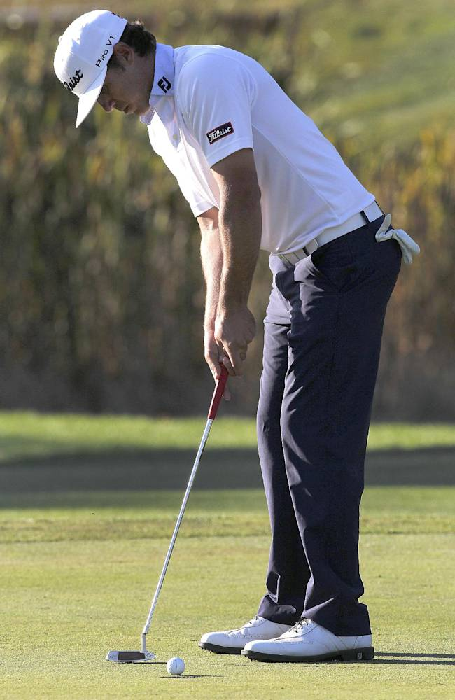 Brooks Koepka putts on the 18th hole during the third round of the Frys.com Open golf tournament, Saturday, Oct. 12, 2013, in San Martin, Calif. Koepka leads the tournament by two strokes