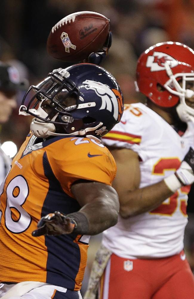 Denver Broncos running back Montee Ball (28) spikes the ball after scoring a touchdown against the Kansas City Chiefs in the second quarter of an NFL football game, Sunday, Nov. 17, 2013, in Denver