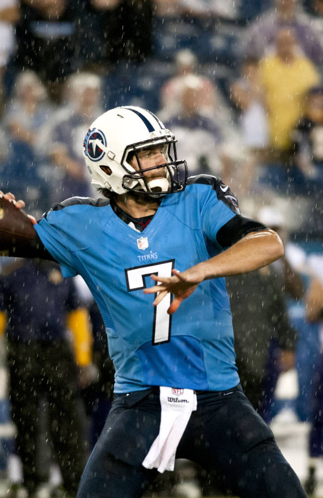 Tennessee Titans quarterback Zach Mettenberger throws a pass during their 19-3 loss to the Minnesota Vikings at LP Field on Thursday, Aug. 28, 2014