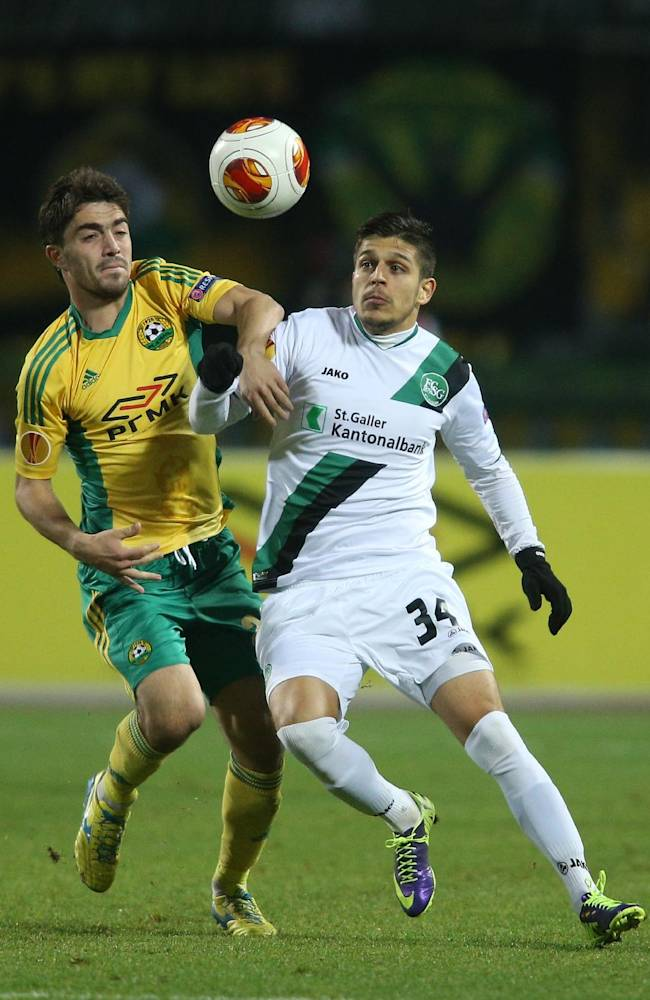 Kuban's Anton Sosnin, left, fights for the ball with St. Gallen's Roberto Rodriguez during their Europa League Group A soccer match in Krasnodar, Russia, Thursday, Nov. 28, 2013