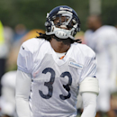 Chicago Bears cornerback Charles Tillman (33) reacts after missing a ball during NFL football training camp at Olivet Nazarene University, Wednesday, July 30, 2014, in Bourbonnais, Ill The Associated Press