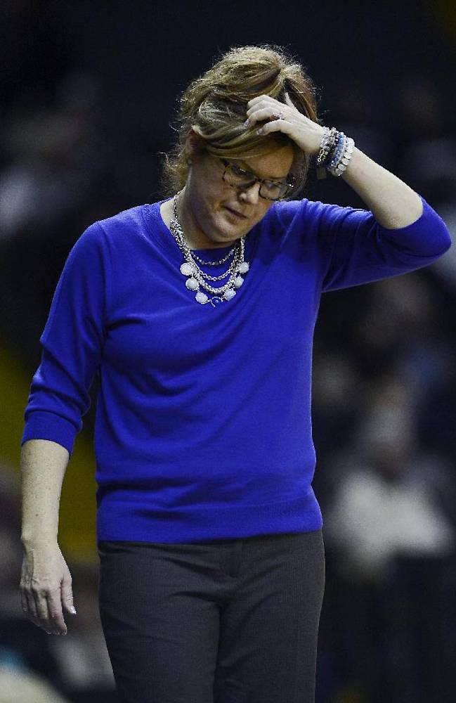 Vanderbilt head coach Melanie Balcomb reacts after her team turned the ball over in the first half of an NCAA college basketball game against South Carolina, Sunday, Jan. 26, 2014, in Nashville, Tenn